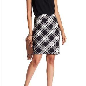 Plaid Pencil Skirt w/ Pink Lining